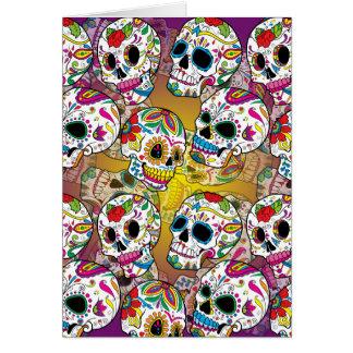 Cráneos del azúcar tarjeta de felicitación