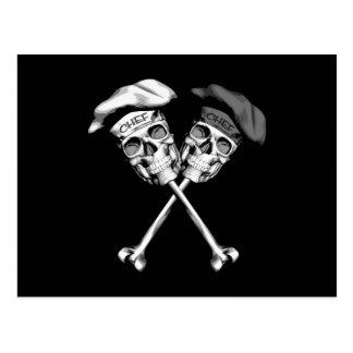 Cráneos del cocinero del ébano y de la marfil postal
