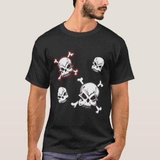 Cráneos dibujados mano camiseta