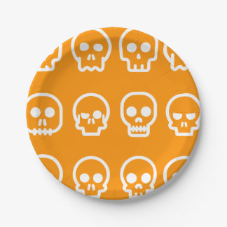Cráneos divertidos de Halloween Plato De Papel