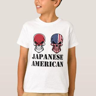 Cráneos japoneses de la bandera americana camiseta