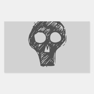 Cráneos Pegatina Rectangular
