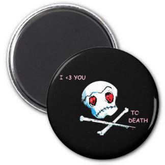"""Cráneos y corazones de Emo: """"Te amo accesorio de l Imán Redondo 5 Cm"""