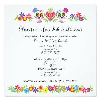 Cráneos y flores del azúcar que casan Bkgnd Invitación 13,3 Cm X 13,3cm