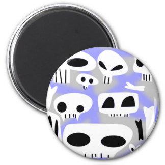 Cráneos y huesos grises y púrpuras de Emo Imán Redondo 5 Cm