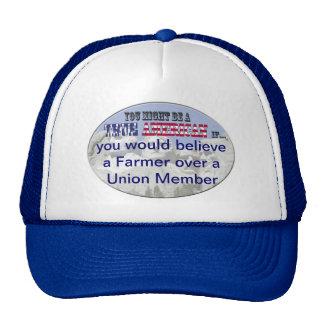 crea a un granjero sobre un trabajador de unión gorras