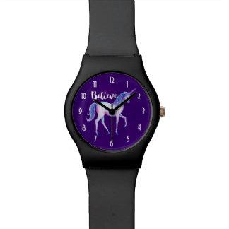 Crea con unicornio en acuarelas en colores pastel reloj de pulsera