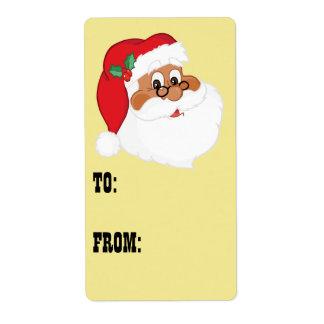 Crea en etiqueta negra del regalo de Papá Noel Etiqueta De Envío