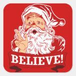 Crea en Papá Noel Pegatina Cuadrada