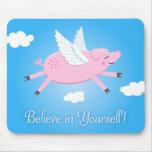 Crea en sí mismo el mousepad del cerdo del vuelo alfombrilla de raton