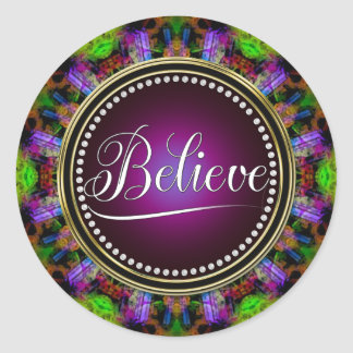 Crea: Inspire: Ponga verde el círculo púrpura de Pegatina Redonda