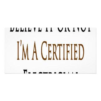 Crea que o no yo es electricista certificado tarjeta personal con foto