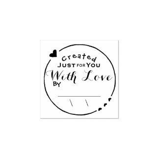 Creado con la firma de las ilustraciones del amor sello de caucho