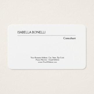 Creativo llano minimalista blanco negro tarjeta de visita