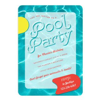 Crecida invitación de la fiesta en la piscina
