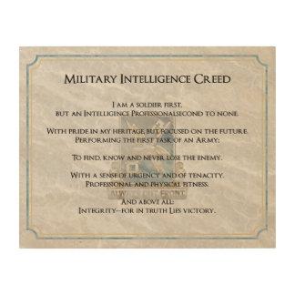Credos de la rama - inteligencia militar impresión en madera
