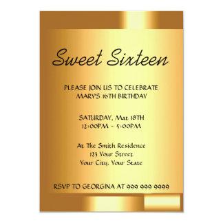 Cree su invitación del oro del dulce 16