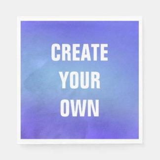 Cree su propia pintura azul de la acuarela servilleta desechable