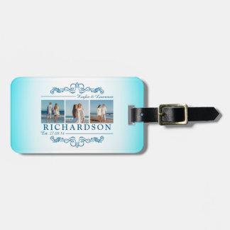 Cree su propio monograma del boda de playa de etiquetas para maletas
