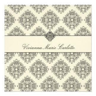 crema 311-Vivianna y invitación negra del damasco