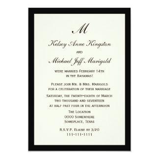 Crema barata asequible de la recepción nupcial del invitación 12,7 x 17,8 cm