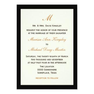 Crema barata simple del boda con negro invitación 12,7 x 17,8 cm