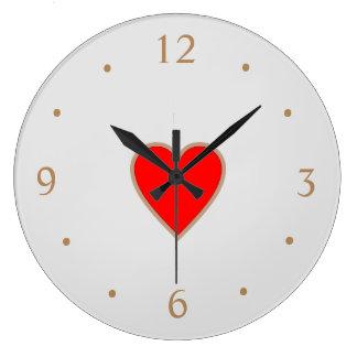 Reloj Redondo Grande Crema con los relojes de día rojos de