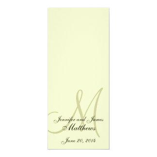 Crema de la marfil del monograma del programa de invitación 10,1 x 23,5 cm