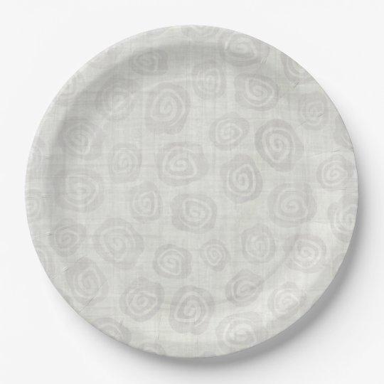 Crema diseñada plato de papel