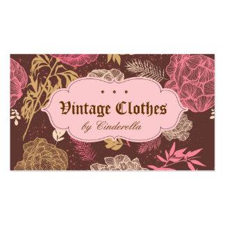 Crema floral de Brown del rosa de la ropa de moda Tarjetas De Visita