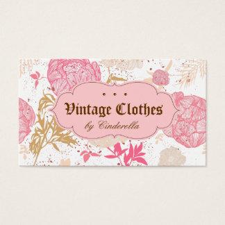 Crema floral del blanco del rosa de la ropa de tarjeta de negocios
