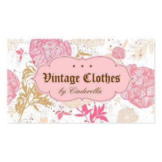 Crema floral del blanco del rosa de la ropa de tarjetas de visita