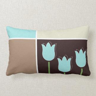 Crema geométrica de Brown de la forma del tulipán Cojín Lumbar