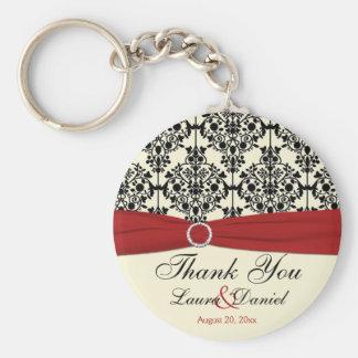 Crema, rojo, y favor del boda del damasco del negr llavero personalizado