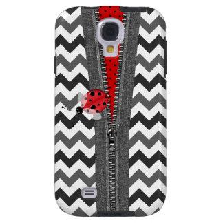 Cremallera y mariquita grises elegantes de Chevron Funda Galaxy S4