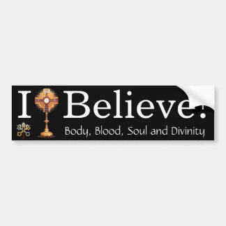 Creo en la eucaristía pegatina de parachoque