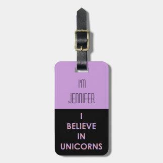 Creo en los unicornios rosados y caramelo de etiqueta para maletas