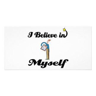 creo en mí mismo tarjeta personal con foto