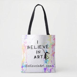 Creo en promocional corrida acuarela del arte bolso de tela