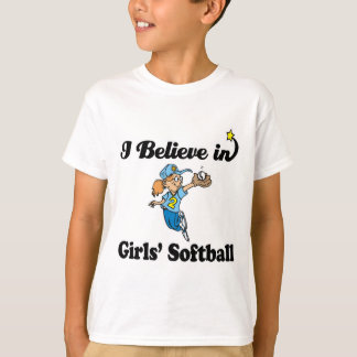 creo en softball de los chicas camiseta