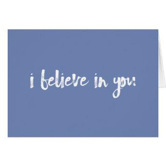 Creo en usted la tarjeta handlettered azul