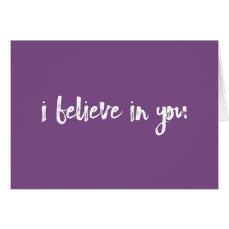Creo en usted la tarjeta handlettered púrpura