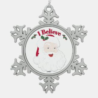 ¡Creo! Estilo Santa del vintage Adorno De Peltre En Forma De Copo De Nieve