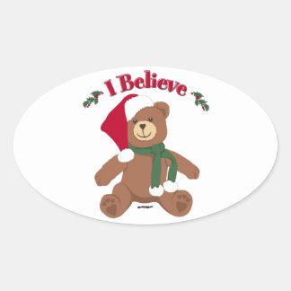 ¡Creo! Oso de peluche del navidad Calcomanías Ovaladas Personalizadas