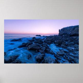 Crepúsculo de la playa del EL Matador Póster