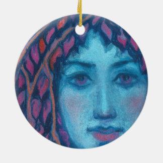 """""""Crepúsculo"""", pintura en colores pastel, arte de Adorno Navideño Redondo De Cerámica"""