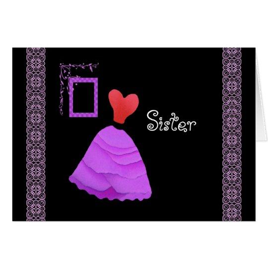 Criada de la HERMANA del vestido ROJO y MAGENTA de Tarjeta De Felicitación