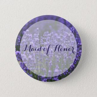 Criada de los botones púrpuras del boda de la chapa redonda de 5 cm