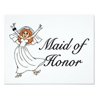 Criada del honor (novia) invitación 10,8 x 13,9 cm