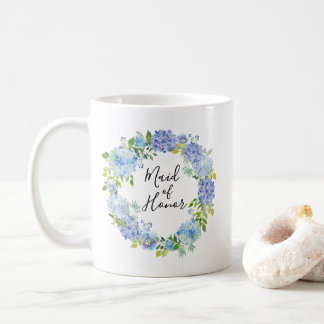 Criada floral de la acuarela azul de la taza de